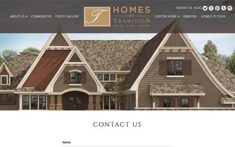 Screenshot of Contact Page homesbytradition.com - New Home Construction in Minneapolis & Twin Cities   Homes by Tradition - captured Aug. 28, 2017