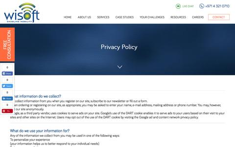 Screenshot of Privacy Page wisoftsolutions.com - Privacy Policy | Wisoft Solutions - SEO Agency in Dubai - captured April 8, 2018