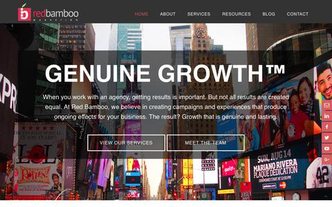Screenshot of Home Page redbamboomarketing.com - Red Bamboo Marketing: Experience Genuine Growth - captured Nov. 21, 2017