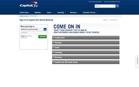 Screenshot of Login Page capitalone.com - Capital One Sign In - Access Online Banking Account - captured Sept. 19, 2014