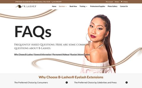 Screenshot of FAQ Page b-lashes.com - Permanent Makeup and Eyelash Extensions FAQ - B-Lashes - captured May 19, 2019