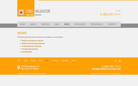 Screenshot of Press Page corevaluation.com - CORE Valuation | Global Business Valuation Firm | News - captured Sept. 26, 2014