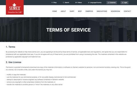 Screenshot of Terms Page semexusa.com - Semex - captured Nov. 3, 2018
