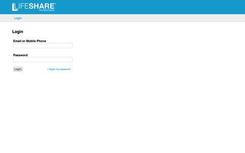 Screenshot of Login Page lifesharetech.com - LifeShare Administration Console - captured Jan. 30, 2016