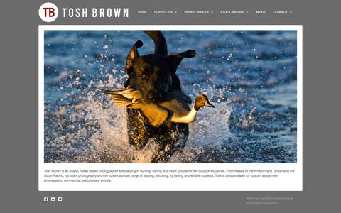 Screenshot of Home Page toshbrown.com - Tosh Brown Hunting Fishing and Outdoor Photography | - captured Feb. 23, 2016