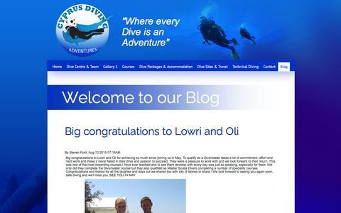 Screenshot of Blog cyprusdivingadventures.com - Blog - Cyprus Diving Adventures - captured Dec. 6, 2015