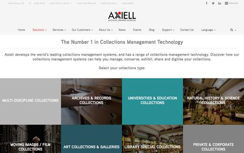 Screenshot of Products Page axiell.com - Collections Management Systems l Axiell ALM - captured Oct. 7, 2017