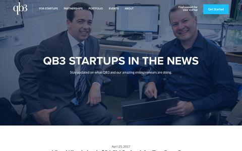 Screenshot of Press Page qb3.org - QB3 Startups in the News | QB3 - captured May 9, 2017