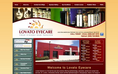 Screenshot of Home Page lovatoeyecare.com - Lovato Eyecare | Eye Doctor Albuquerque - captured Sept. 30, 2014