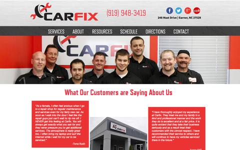Screenshot of Testimonials Page carfix.us.com - Testimonials | CarFix | Garner, NC - captured Sept. 27, 2014