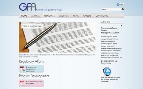 Screenshot of Case Studies Page gf-associates.co.uk - Product Line Services | GFA - captured Oct. 1, 2014