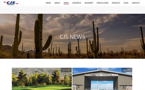 Screenshot of Press Page cjs-ent.com - News - CJS Enterprises - Concrete, Masonry, Fence & Iron | Peoria AZ - captured Sept. 25, 2018