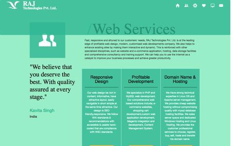 Screenshot of Services Page rajtechnologies.com - Web Design India,php mysql Web Development India,Web Development Ahmedabad - captured Oct. 27, 2014