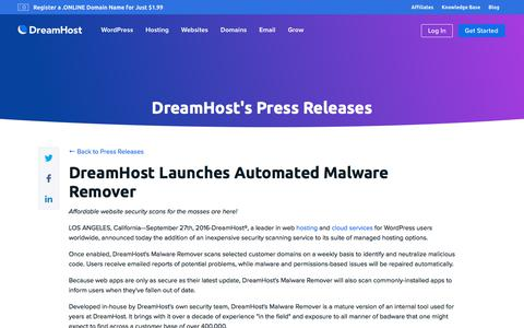 Screenshot of Press Page dreamhost.com - DreamHost Launches Automated Malware Remover  – DreamHost - captured Feb. 21, 2020