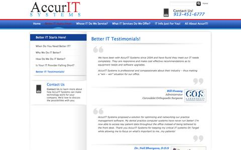 Screenshot of Testimonials Page accuritsys.com - Better IT Testimonials! - Overland Park, Kansas City, Olathe | AccurIT Systems - captured Oct. 4, 2014