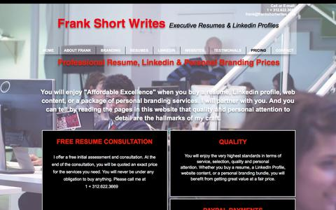 Screenshot of Pricing Page frankshortwrites.com - Prices you can afford. - captured June 6, 2017