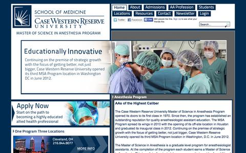 Screenshot of Home Page anesthesiaprogram.com - Master of Science in Anesthesia Program | Case Western Reserve University - captured Sept. 28, 2015
