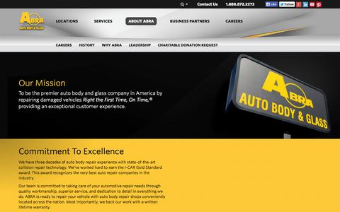 Screenshot of About Page abraauto.com - About ABRA Auto Body & Glass Repair | America's Most Recommended - captured Sept. 23, 2014