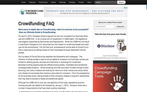 Screenshot of FAQ Page crowdfundinsider.com - Crowdfunding FAQ - Crowdfund Insider - captured March 22, 2017