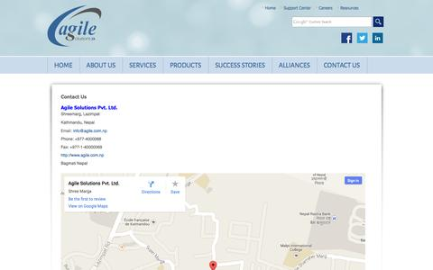 Screenshot of Contact Page agile.com.np - Contact Us : Agile Solutions Pvt. Ltd. - captured Oct. 4, 2014