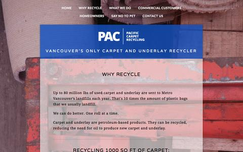 Screenshot of Menu Page pacrecycling.ca - Why Recycle — PAC Recycling - captured Sept. 26, 2014