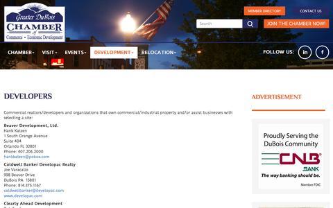 Screenshot of Developers Page duboispachamber.com - Greater DuBois, PA Chamber of Commerce & Economic Development: Greater DuBois, PA Chamber of Commerce & Economic Development: Developers - captured Feb. 1, 2016