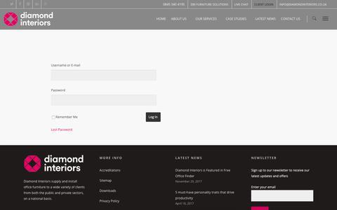Screenshot of Login Page diamondinteriors.co.uk - Client Area - Diamond Interiors - captured Nov. 6, 2018