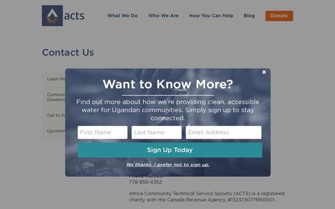 Screenshot of Contact Page acts.ca - ACTS.ca | Contact Us - ACTS.ca - captured Nov. 20, 2016