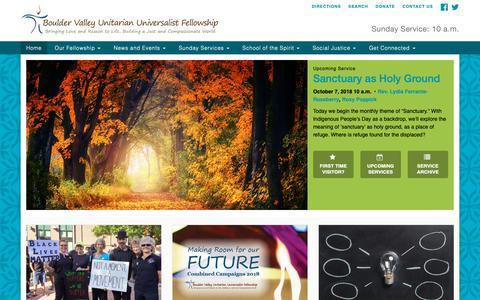 Screenshot of Home Page bvuuf.org - Home - Boulder Valley Unitarian Universalist Fellowship - captured Oct. 6, 2018