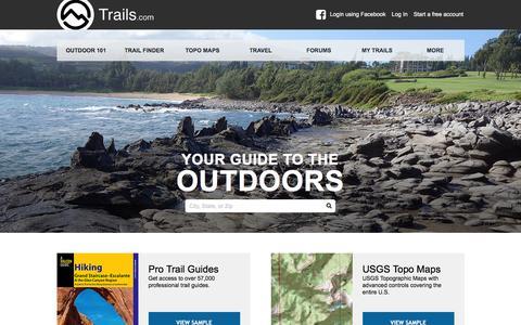 Screenshot of Home Page trails.com - Hiking Trails, Mountain Bike Trails & Trail Maps | Trails.com - captured Jan. 13, 2016