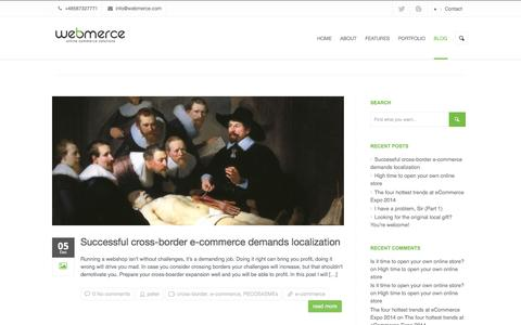 Screenshot of Blog webmerce.com - Webmerce blog | Blogging about online commerce - captured Feb. 24, 2016