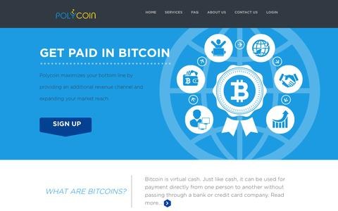 Screenshot of Home Page polycoin.io - Start accepting bitcoins in your business -Polycoin - captured Jan. 20, 2015