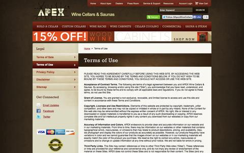 Screenshot of Terms Page apexwineracks.com - APEX Wine Cellars & Saunas | Terms of Use - captured Oct. 4, 2014