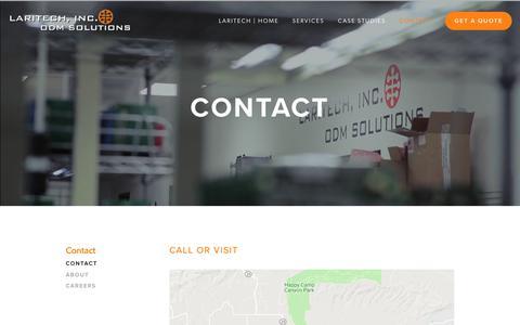Screenshot of Contact Page laritech.com - PCB Printed Circuit Board Assembly Design   California   Laritech - captured Feb. 15, 2019