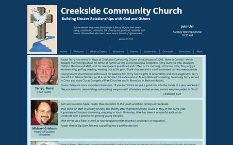 Screenshot of Team Page creeksidechurchnapa.org - Creekside Community Church | Leadership - captured Nov. 13, 2016