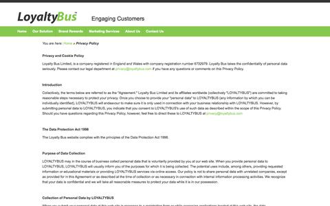 Screenshot of Privacy Page loyaltybus.com - Privacy Policy - captured Oct. 3, 2014