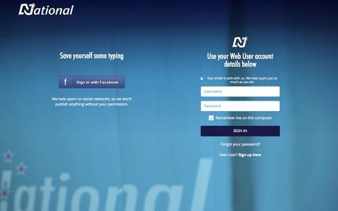 Screenshot of Login Page national.org.nz - Sign In - captured Sept. 19, 2014