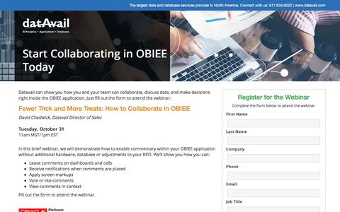 Screenshot of Landing Page datavail.com - Start Collaborating in OBIEE Today - captured July 18, 2018
