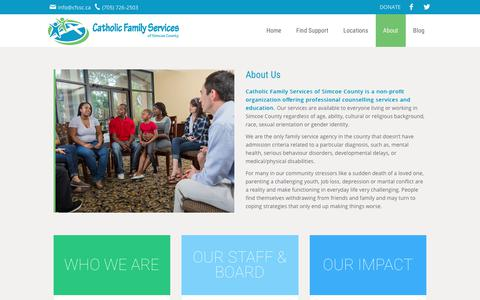 Screenshot of About Page cfssc.ca - About Catholic Family Services Simcoe County  | Catholic Family Services of Simcoe County - captured July 17, 2017