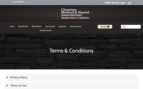 Screenshot of Terms Page cmda.org - Terms & Conditions – Christian Medical & Dental Associations - captured Sept. 28, 2018