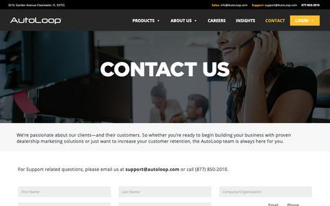 Screenshot of Contact Page autoloop.com - Contact Us – AutoLoop - captured Nov. 15, 2018