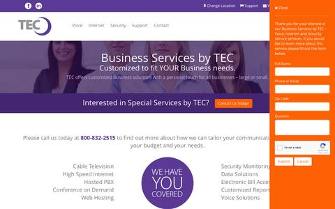 Screenshot of Services Page tec.com - Business Services by TEC – Voice, Internet and Security Service - captured Dec. 7, 2016