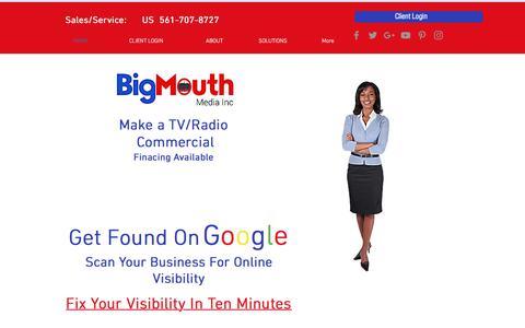 Screenshot of Home Page gobigmouthmedia.com - Make a video   Boca Raton   Bigmouth Media Inc. - captured Feb. 20, 2018