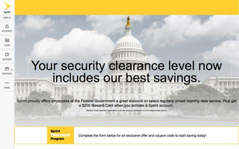 Screenshot of Landing Page sprint.com - Sprint Discount Program for Federal Government - captured Aug. 30, 2016