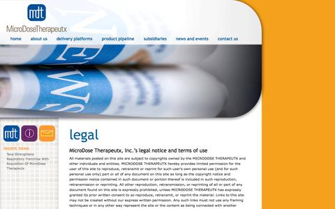 Screenshot of Terms Page mdtx.com - legal – - captured Oct. 27, 2014