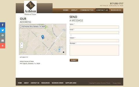 Screenshot of Privacy Page Contact Page ashtonhomesoftexas.com - Contact Us - captured Oct. 2, 2018