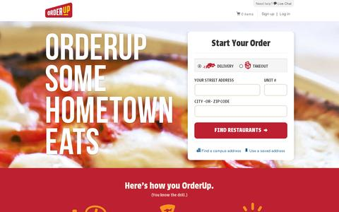 Screenshot of Home Page orderup.com - Delivery & Takeout Restaurants | Order Food Online | OrderUp - captured July 11, 2014
