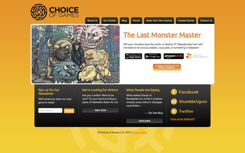 Screenshot of Home Page choiceofgames.com - Choice of Games LLC - captured Jan. 19, 2015