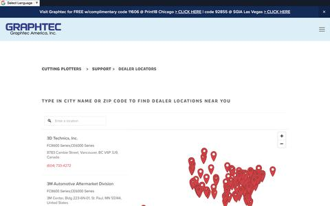 Screenshot of Locations Page graphtecamerica.com - usa & canada dealers | Graphtec America, Inc. - captured Sept. 22, 2018
