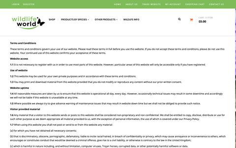 Screenshot of Terms Page wildlifeworld.co.uk - Terms & Conditions - Wildlife World - captured Nov. 19, 2018